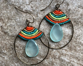 Colorful bronze hoop with large chalcedony