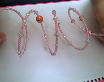 Beautiful Pale Pink Bead Bracelet- One size fits all