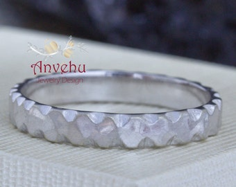 14k white gold wedding ring Mens hammered wedding band rustic textured band handmade