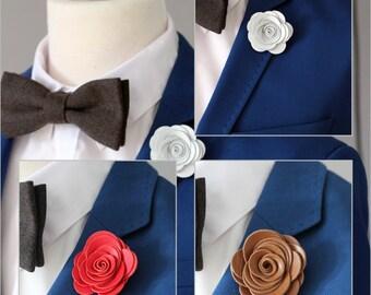 Leather lapel pin, Mens lapel flower, lapel boutonniere, petite rose lapel boutonniere, wedding boutonnniere