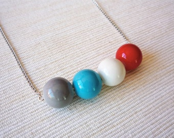 Minimal long Necklace - beaded long necklace - long chain necklace with glass beads