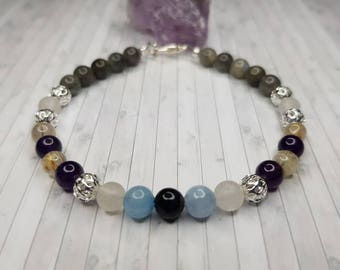 Tigers Eye bracelet, Labradorite bracelet, February birthstone bracelet, Mothers Day gift mom gifts for her, relaxation gifts for women best