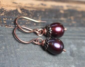 Cranberry Red Pearl Earrings Burgundy Earrings Freshwater Pearl Earrings Rustic Jewelry