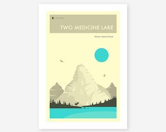 GLACIER NATIONAL PARK (Giclée Fine Art Print/Photo Print/Poster Print) 'Two Medicine Lake' by Jazzberry Blue