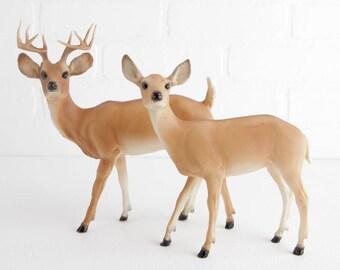 Vintage Breyer Buck and Doe Figurines in Soft Tan, Deer Decor