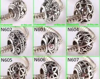 perforated metal spacer for bracelet charms European bead