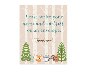 Address an Envelope Sign, Woodland Address an Envelope, Please write your name and address on an envelope Forest Friends Blue  215 Printable