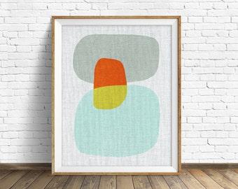 "mid century modern art, mid century modern wall art, large art, printable art, instant download, large wall art, abstract art - ""Pods No. 8"""