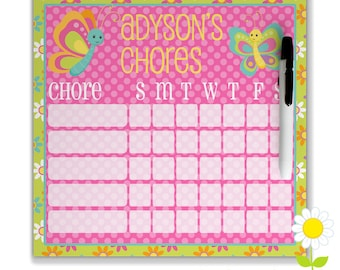 Personalized Butterfly Chore Chart for Kids - Girls' Chore Chart - Dry Erase Weekly Responsibility Chart - Magnetic Butterfly Chore Chart