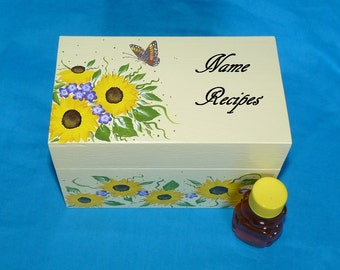 Elegant Wooden Recipe Card Box Decorative Wedding Guest Book Box Bridal Shower Honey Bear Hand Painted Sunflowers Butterfly Gift Set