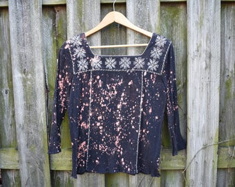 Upcycled Bleach Splattered One-of-a-Kind Peasant Top / Size Medium