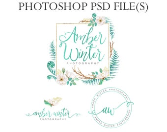 Watercolor wreath logo branding kit, blue foil logo, photography logo, bohemian logo, round watermark, green floral logo, submark template
