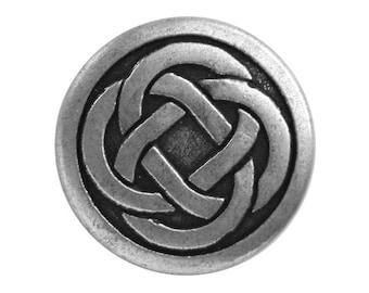 3 Celtic Knot 7/8 inch ( 23 mm ) Metal Buttons Antique Silver Color