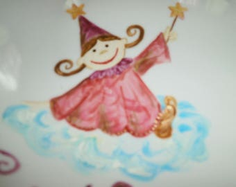 fairy painted porcelain plate pink cloud with name