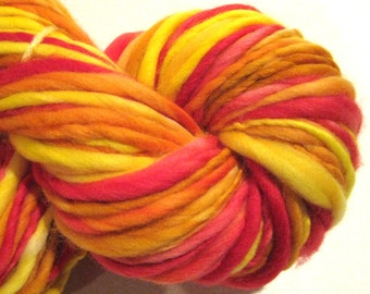 Super Bulky Handspun Yarn Girl On Fire 110 yards hand dyed wool red orange yellow waldorf doll hair knitting supplies crochet supplies