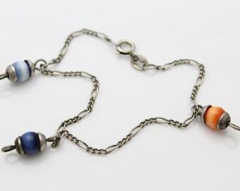 "Vintage Sterling Silver Chain Bracelet w Blue Orange Chatoyant Charm Beads 7"". [900]"