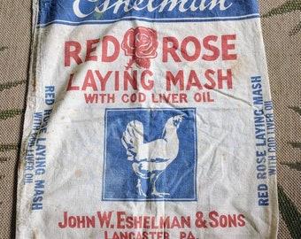 Vintage Eshelman Red Rose Canvas Chicken Feed Bag Sack York PA