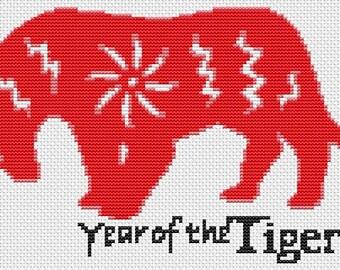 Tiger Cross Stitch Kit, Year of the Tiger Cross Stitch, Chinese Zodiac Cross Stitch, Embroidery Kit, Art Cross Stitch