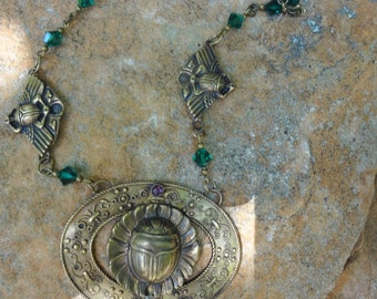 Vintage Egyptian Revival Scarab Necklace--Early 1900's