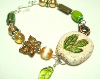 Polymer Clay Leaf Focal Bead - Boho Bracelet  ON SALE