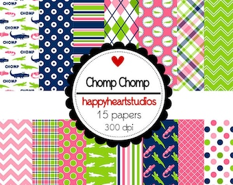 DigitalScrapbooking ChompChomp Pink, Navy, Preppy, Gator,  -InstantDownload