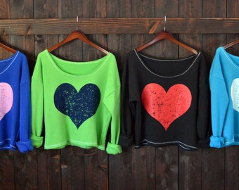 Big Huge Heart. Heart Sweatshirt. Wide Shouldered Cropped Super Soft Sporty Sweatshirt. Made in the USA. 4 Colors Available, Any Heart Color