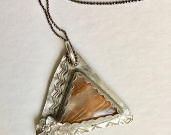 new fine silver and rutilated quartz pendant necklace