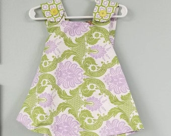 Vintage Shabby Chic Reversible baby, toddler girls dress with matching Bloomers size 12mo.