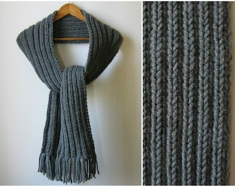 Dark Gray Scarf Chunky Knit Long with Fringes, Mens Womens Scarves, Winter Wool Scarf, Multi Wrap Scarf, Hand Knit Cute, Thick, Gift for Dad