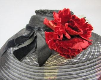 Vintage 1930s Black WIDE BRIM Cartwheel Hat from the BOARDWALK Empire Collection