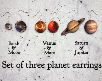 Set of Three Planet Earrings, Earth and Moon, Jupiter and Saturn, Mars and Venus, Outer Space Earrings, Galaxy Earrings in shrink plastic