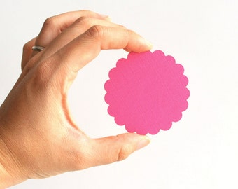 32 Scalloped circles (2.5 Inches) Textured Cardstock, Choose your color A408