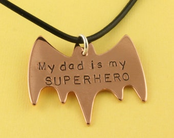 Bat Necklace - Superhero Necklace - Father's Day Gift for Dad - Super Hero Necklace - Bat Jewelry - Hero Necklace  - Dad Necklace
