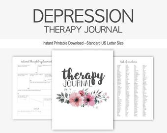 Depression & Anxiety Therapy Journal: Instant Printable Download, Mental Health, Cognitive Behavior, Self Esteem, Daily Food, Sleep Diary