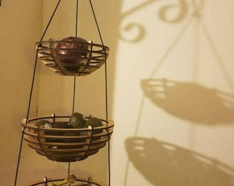 Ready to Ship Maple Wooden Three Tiered Hanging Fruit Basket