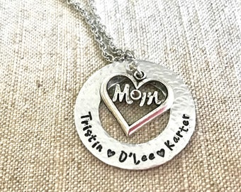 Tristin necklace - mom necklace - mom heart necklace - child name necklace - Handstamped mom necklace