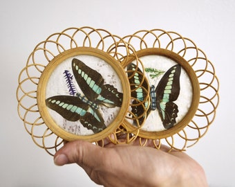 Pair of Butterfly Drink Coasters | Boho Vintage | Bamboo Wall Decor