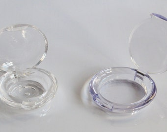 Small Compact with Hinged Lid Clear or Blue Tint Plastic See Description for Available Styles