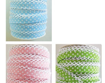 Polka Dot Double Fold Crochet Edge Bias Tape - 1 yard