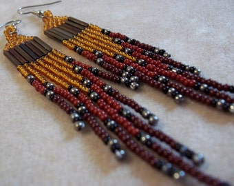Carpal Tunnel Going Out of Business Sale! Long Dangle, Seed Bead, Fringe Earrings,  Exotic Brown, Statement Earrings, Bold Earrings, Boho
