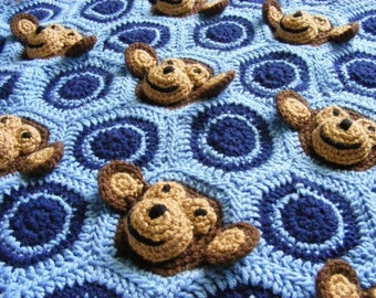 Crochet Baby Blanket Pattern Instant Download Crochet Pattern Crochet Monkey Pattern Crochet Blanket Pattern Monkey Blanket Baby Boy Blanket