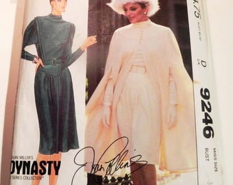 """1980s Dynasty Cape Dress Joan Collins Nolan Miller sewing pattern McCalls 9246 Size 8 Bust 31.5"""""""
