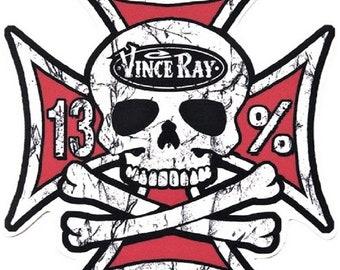 ART STICKER Iron Cross Skull Vince Ray Decal #VR69