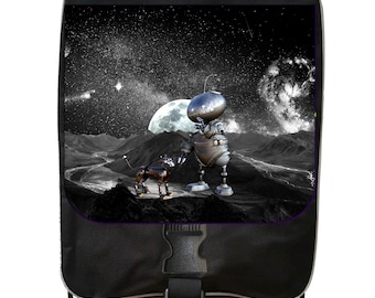 Robot and Dog in Space Galaxy - Black School Backpack