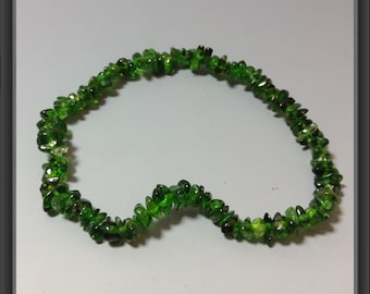 Chrome diopside chips bracelet