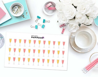 CHAMPAGNE GLASSES Paper Planner Stickers!