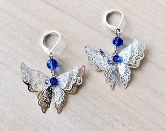 925 silver earrings with butterfly filigree and blue Swarovski crystal