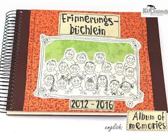 Book Elementary School, gift teacher, memory book, school-album, German handmade, sticker album school-class, school-souvenirs, unique piece