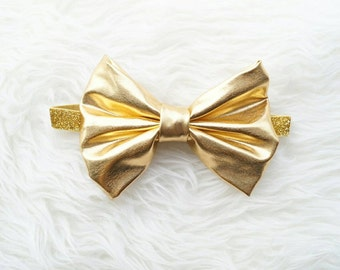 Metallic gold big bow baby girl headband