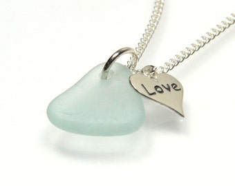 Sea Glass and Silver Charm Necklace, Love Charm, Sea Glass Necklace, Charm Necklace, LOVE MISTY